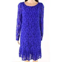 Calvin Klein Blue Womens Size 12P Petite Floral-Lace Sheath Dress