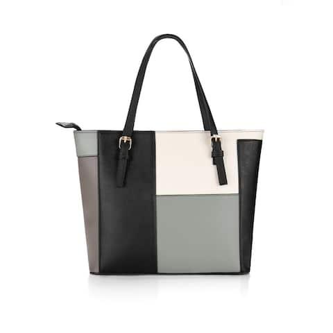 Women Shoulder Straps Zip Closure Color Block PU Tote Grey - Gray