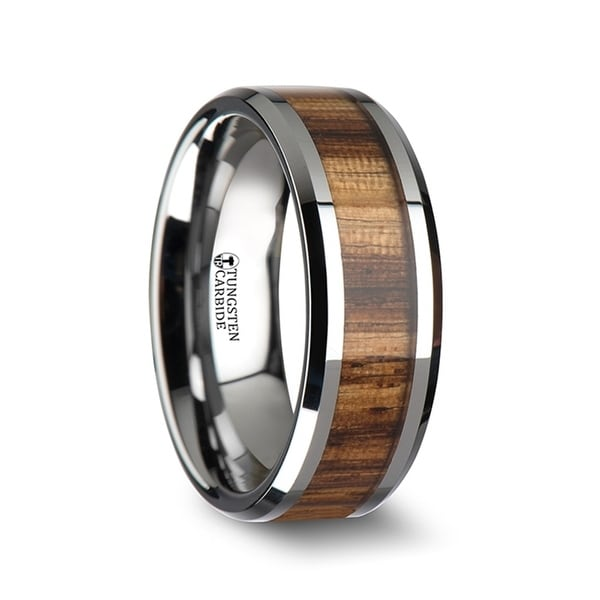 THORSTEN - PALMALETTO Tungsten Carbide Ring with Beveled Edges and Real Zebra Wood Inlay