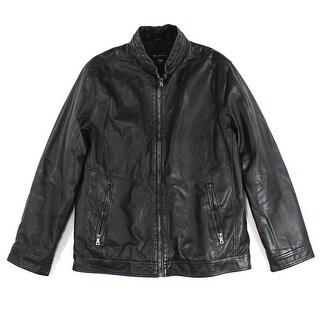 INC Black Mens Size Medium M Faux-Leather Motorcycle Jacket