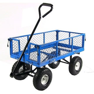 Sunnydaze Utility Cart with Folding Sides and Liner Set - Multiple Colors Available