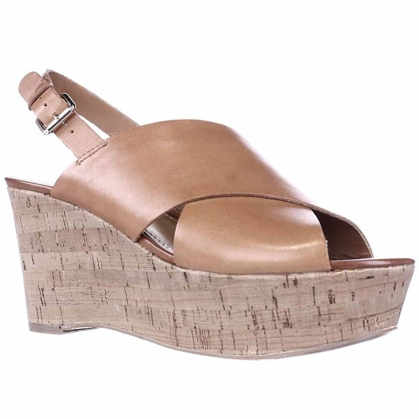 Marc Fisher Womens Sesame Leather Peep Toe Casual Platform Sandals
