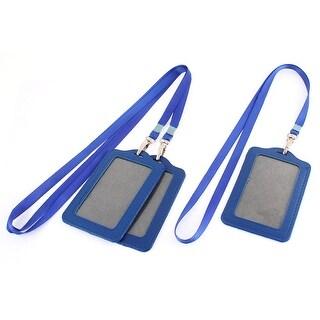 Blue Vertical Lanyard Business ID Card Badge Holder 3pcs