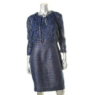 Kay Unger Womens Metallic Sequined Dress With Jacket
