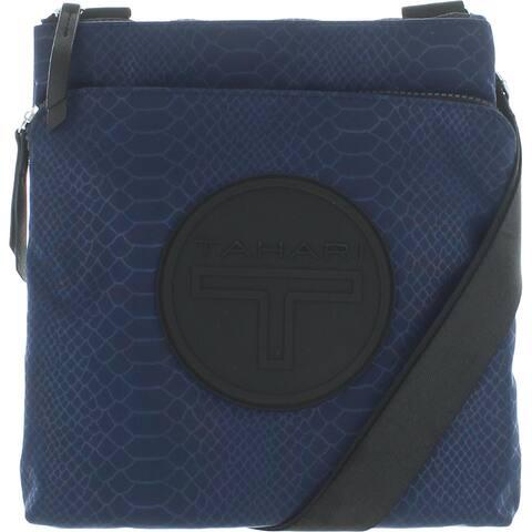 Tahari Dina Women's Nylon Snake Print Logo Adjustable Crossbody Handbag - Small