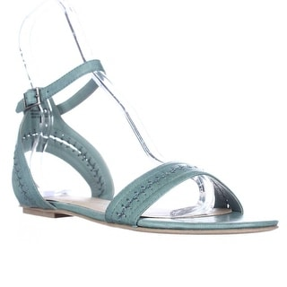 AR35 Teagan Flat Ankle Strap Stitch Sandals - Summer Blue