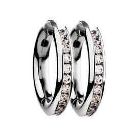 Chisel Titanium Hinged Hoop Earrings with Cubic Zirconia