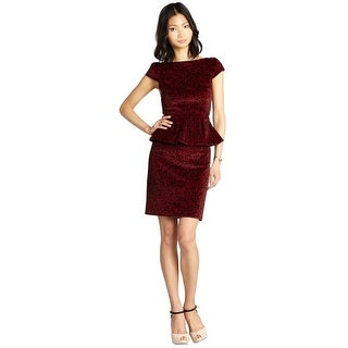 Alice & Olivia Rose Print Velvet Cap Sleeve Peplum Cocktail Dress - 0