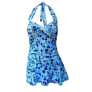 Deep Blue Adult Blue Tiles Print Halter One Piece Retro Swimdress