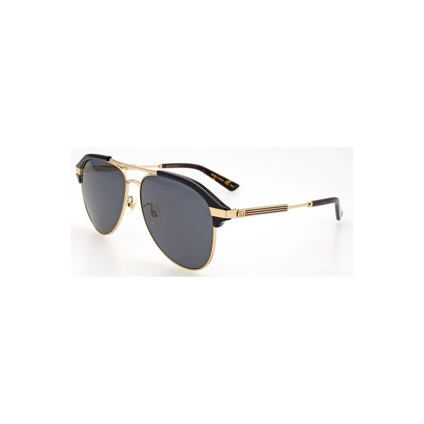 7ec2167b287 Gucci Grey Aviator Sunglasses Gg0288Sa 001 60 - BLACK-GOLD-GREY - One Size