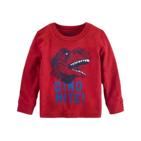 OshKosh B'gosh Baby Boys' Glow in The Dark Dino Tee, Red, 9 Months