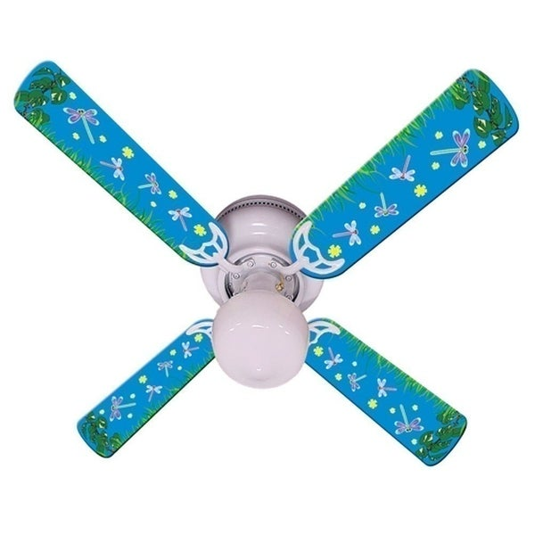 Blue Fireflies Print Blades 42in Ceiling Fan Light Kit - Multi