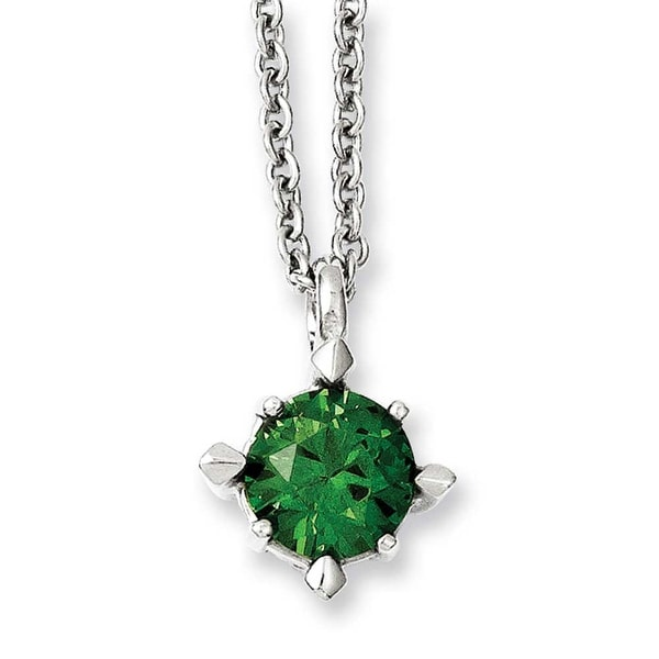 Chisel Stainless Steel Green CZ Pendant 18in Necklace (2 mm) - 18 in