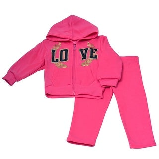 """Little Girls Fuchsia """"Love"""" Leaf Detail Hooded Top 2 Pc Pant Outfit"""