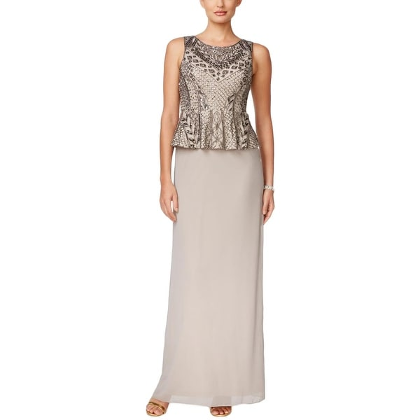 Shop Adrianna Papell Womens Formal Dress Beaded Peplum Free