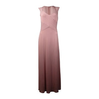 Calvin Klein Women's Embellished Illusion Pintucked Jersey Gown (6, Blush) - 6