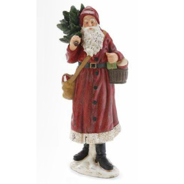"15.5"" Weathered Woodland Santa Claus with Christmas Tree and Gifts Figure - RED"