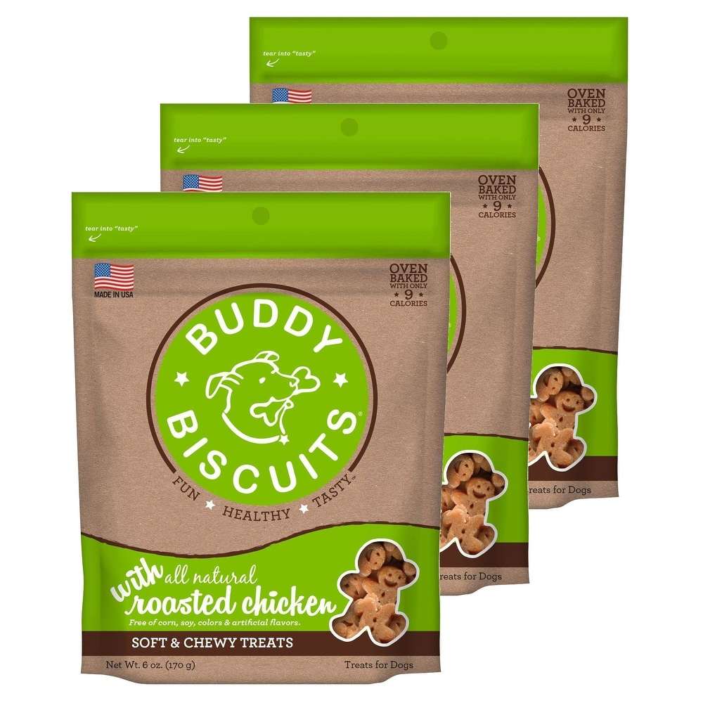 Cloud Star Buddy Biscuits 6 oz Soft & Chewy Dog Treats - Roasted Chicken 3 Pack