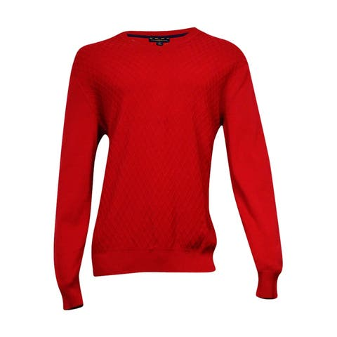 Club Room Men's Diamond-Knit Pattern Sweater (Anthem Red, LT) - Anthem Red - LT