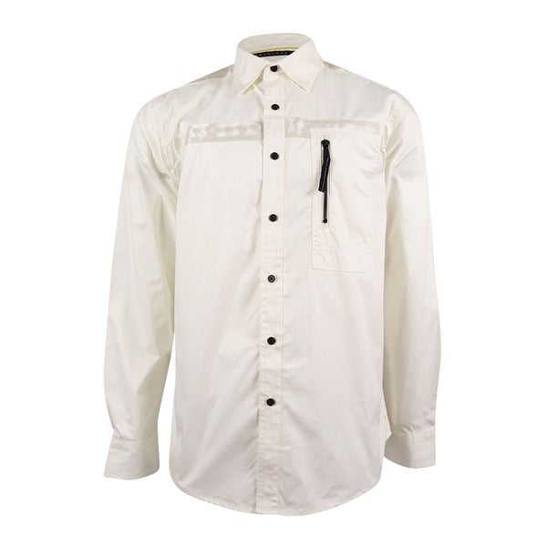 a7bc3179d7 Shop Sean John Men s Long-Sleeve Woven Flight Shirt - Cream - Free Shipping  On Orders Over  45 - Overstock - 19268099