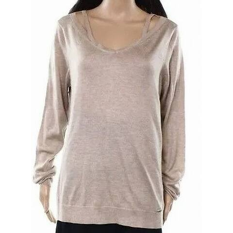 Calvin Klein Womens Sweater Tan Beige Size Large L Knit V-Neck Cutout