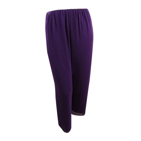 Alex Evenings Women's Petite Wide Leg Chiffon Pants (PXL, Eggplant) - Eggplant - PXL