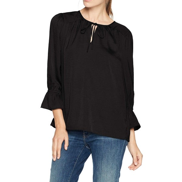 Lucky Brand Black Womens Size Small S Parachute Peasant Top Blouse