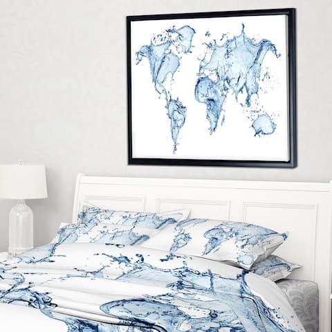 Designart 'World Map Water Splash' Abstract Map Framed Canvas Art Print