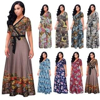 Digital Printed Casual V-Neck Dress