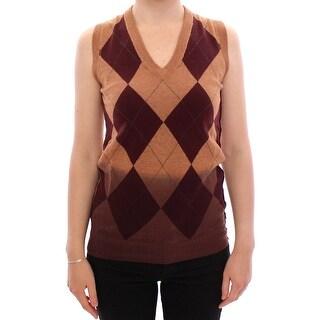 Dolce & Gabbana Brown Wool Blend Sleeveless Vest Sweater