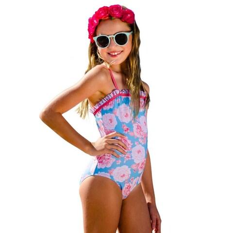 Sun Emporium Little Girls Coral Red Vintage Summer Keyhole Back Swimsuit
