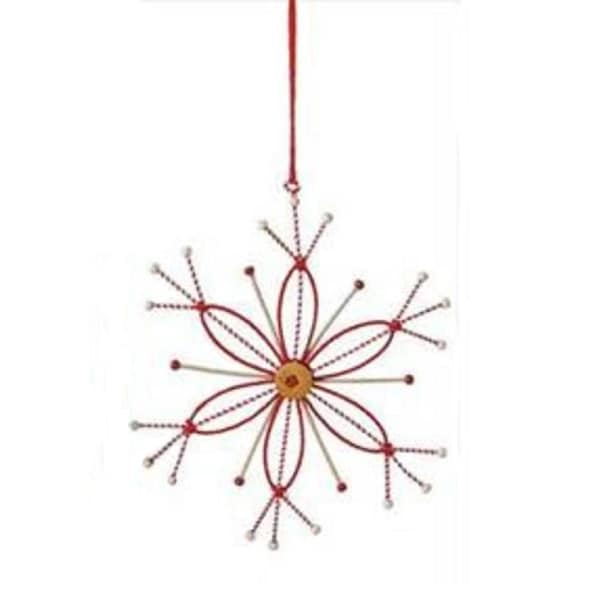"8.5"" Alpine Chic Tan, White and Red Country Rustic Style Snowflake Christmas Ornament"