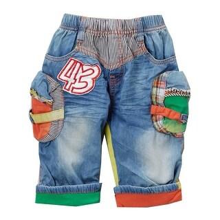 Rock'nStyle Boys Blue Multi Color Patch Folded Cuff Denim Shorts
