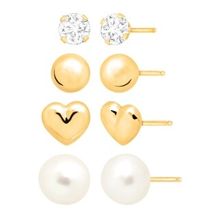 Girl's 4 Piece Stud Earring Set with Cubic Zirconia and Freshwater Pearls in 10K Gold
