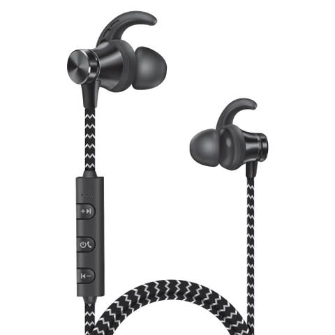 Overtime Wireless Sport Gym Neckband Headphones Earbuds Earphones with Microphone - Black
