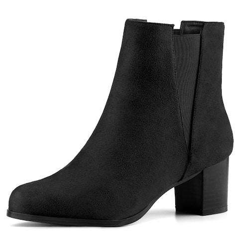 Women's Round Toe Chunky Heel Ankle Chelsea Boots