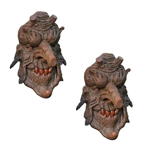 Design Toscano Poison Oak Greenman Tree Sculpture: Set of Two