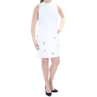 Womens Ivory Sleeveless Above The Knee Sheath Wear To Work Dress Size: L