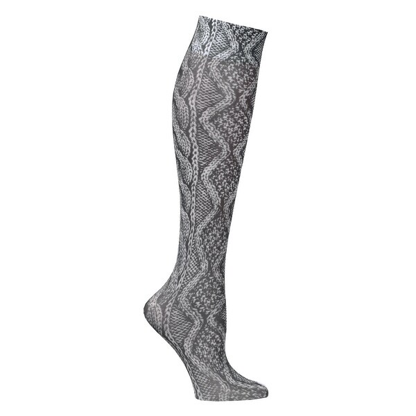 Celeste Stein Moderate Compression Knee High Stockings Wide Calf-Black Cable - Medium
