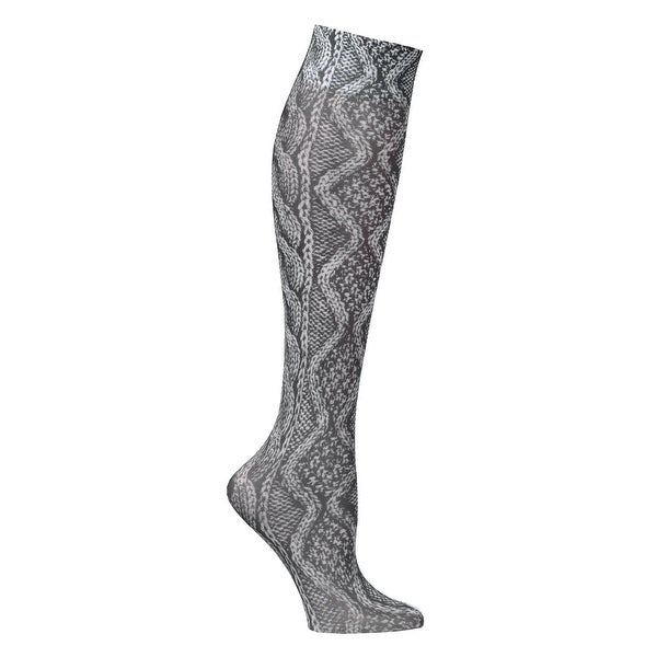 Celeste Stein Women's Mild Compression Knee High Stockings - BK Cable Knit - Medium