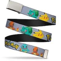 Blank Chrome Buckle Pokemon Kanto Starter Pokemon & Pikachu Gray Swirl Web Belt