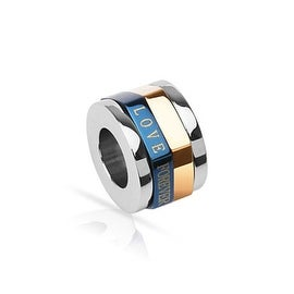 Stainless Steel Duo Tone Blue and Copper Plated 'LOVE FOREVER' Cylinder Spinner Pendant (10 mm Width)