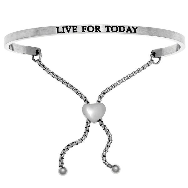 "Intuitions ""Live for Today"" Stainless Steel Adjustable Bolo Friendship Bracelet"