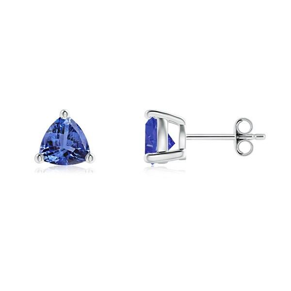 Angara Basket Setting Trillion-Cut Tanzanite Stud Earrings