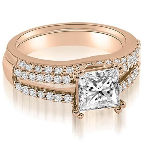 1.09 cttw. 14K Rose Gold Princess Cut Split Shank Diamond Bridal Set