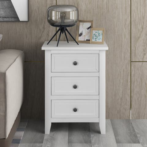 White Wood 3-drawer Side Table Nightstand