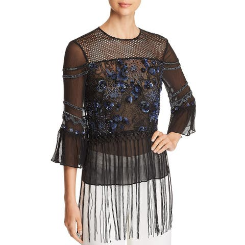 Elie Tahari Womens Aislin Blouse Sheer Embellished