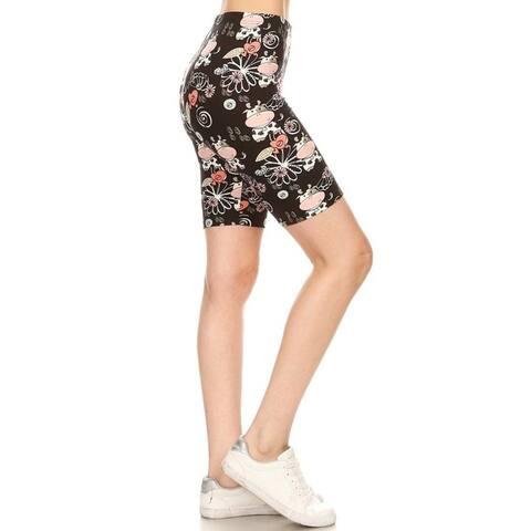 NioBe Clothing Womens High Waist Soft Graphic Print Fashion Biker Shorts