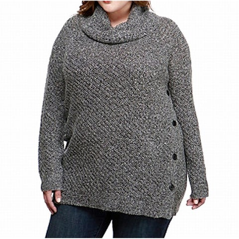 Lucky Brand Gray Alyssa Cowl-Neck Women's Size 1X Plus Sweater