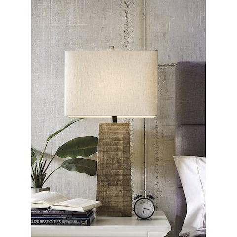 "Deonte Contemporary Brown Wood Table Lamp - 17.13"" W x 10.13"" D x 32.88"" H"